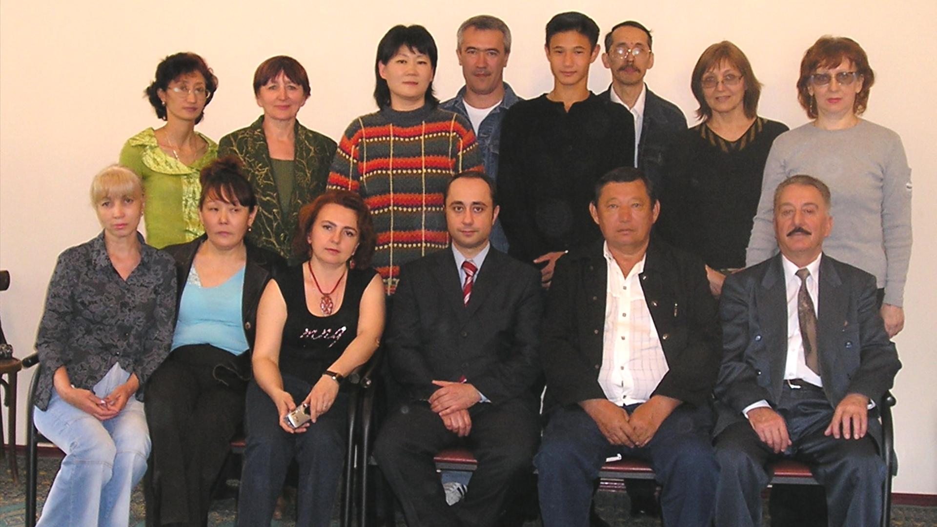 С группой после обучения космоэнергетики в Алматы